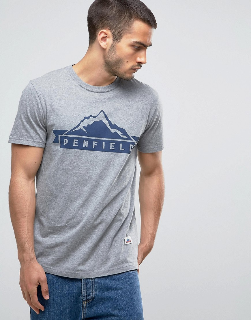 Penfield Mountain Logo T-Shirt Regular Fit in Grey Marl - Grey