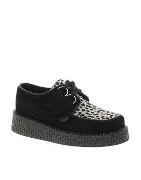 Image 1 ofUnderground Wulfrun Suede and Leopard Round Toe Creepers