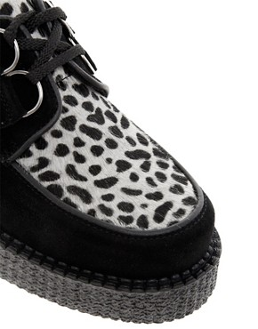 Image 2 ofUnderground Wulfrun Suede and Leopard Round Toe Creepers