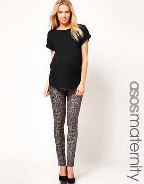 Image 1 ofASOS Maternity Exclusive Skinny Jean In Animal Print