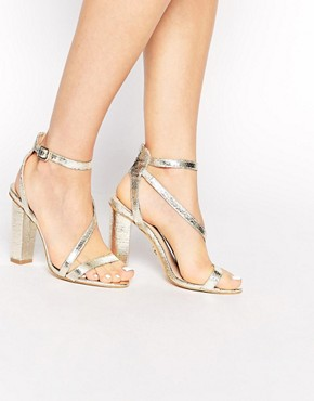 Lipsy Bonnie Gold Asymmetric Strappy Sandals