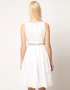 Image 2 ofASOS PETITE Exclusive Midi Dress With Full Skirt And Crochet Detail