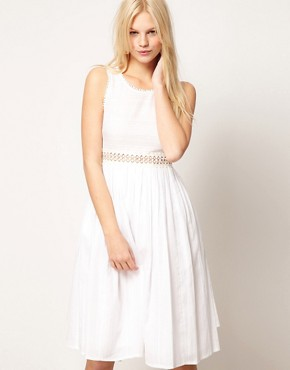 Image 4 ofASOS PETITE Exclusive Midi Dress With Full Skirt And Crochet Detail