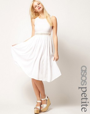 Image 1 ofASOS PETITE Exclusive Midi Dress With Full Skirt And Crochet Detail