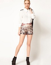 sister jane  Geblmte Shorts in Metallicoptik