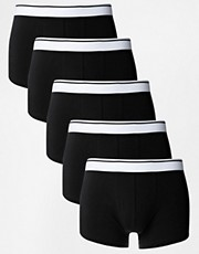 ASOS Five PackTrunks With White Waistband