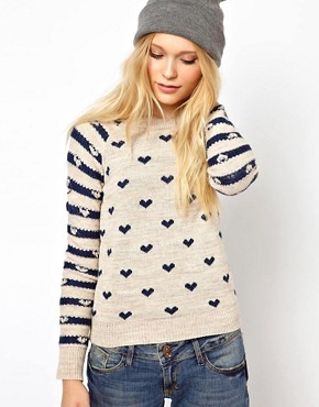 Image 1 ofRiver Island Chelsea Girl Heart Print Jumper