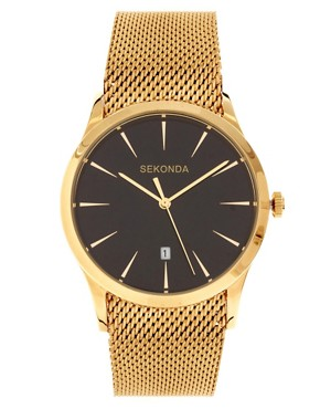 Image 1 ofSekonda Gold Watch with Mesh Strap