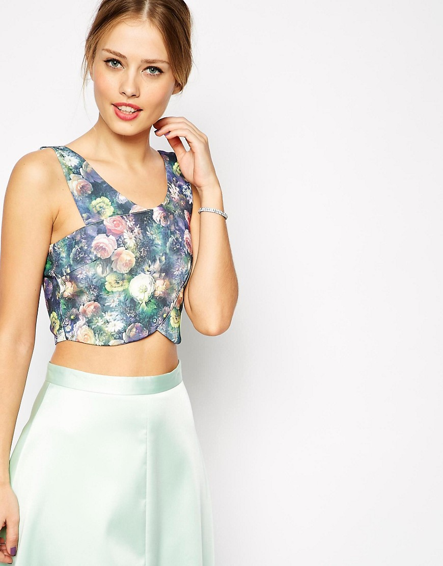 Image 1 of ASOS Crop Top with Wrap Front in Floral Print