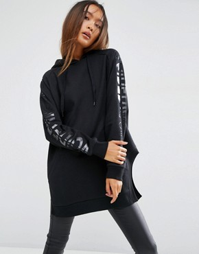 ASOS Hoodie in Longline Oversized Fit with Sleeve Print