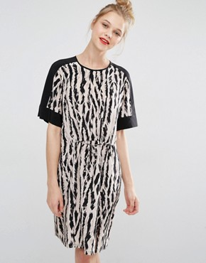BCBG Max Azria Print Dress with Tie Waist Detail