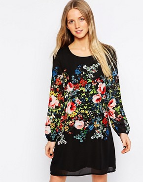 Yumi Shift Dress with Floral Placement Print