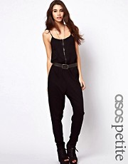 ASOS PETITE Zip Front Onesie With Strap Detail