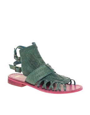 Image 1 ofASOS FLOW Leather Flat Sandal with Dip Dye Effect
