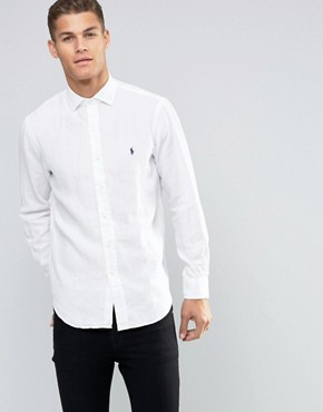 Polo Ralph Lauren Linen Shirt In Custom Regular Fit White