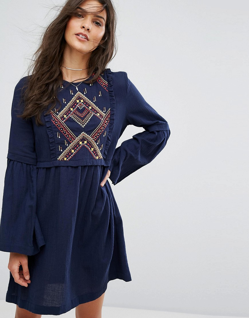 Suncoo Embroidered Smock Dress - Navy
