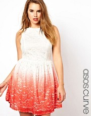 ASOS CURVE Exclusive Skater Dress In Dip Dye