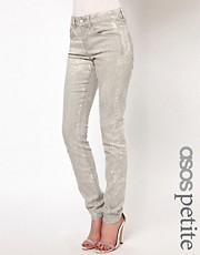 ASOS PETITE Elgin Supersoft Skinny Jeans in Soft Grey Acid Wash