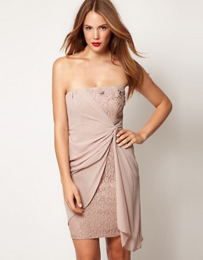 Image 1 ofCoast Lace Bandeau Dress With Chiffon Overlay