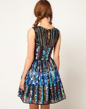 Image 2 ofASOS Skater Dress in Holographic Sequin