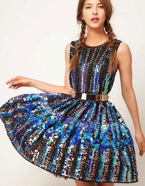 Image 1 ofASOS Skater Dress in Holographic Sequin