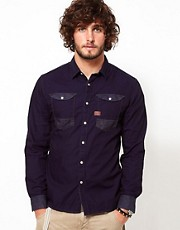 G Star Shirt Ranch Rinsed Denim Contrast Detail