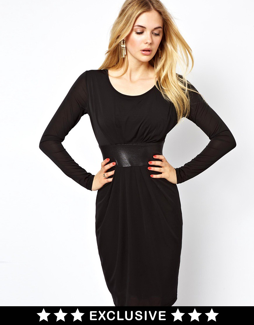 Image 1 of Vila Midi Dress With Satin Waist Detail