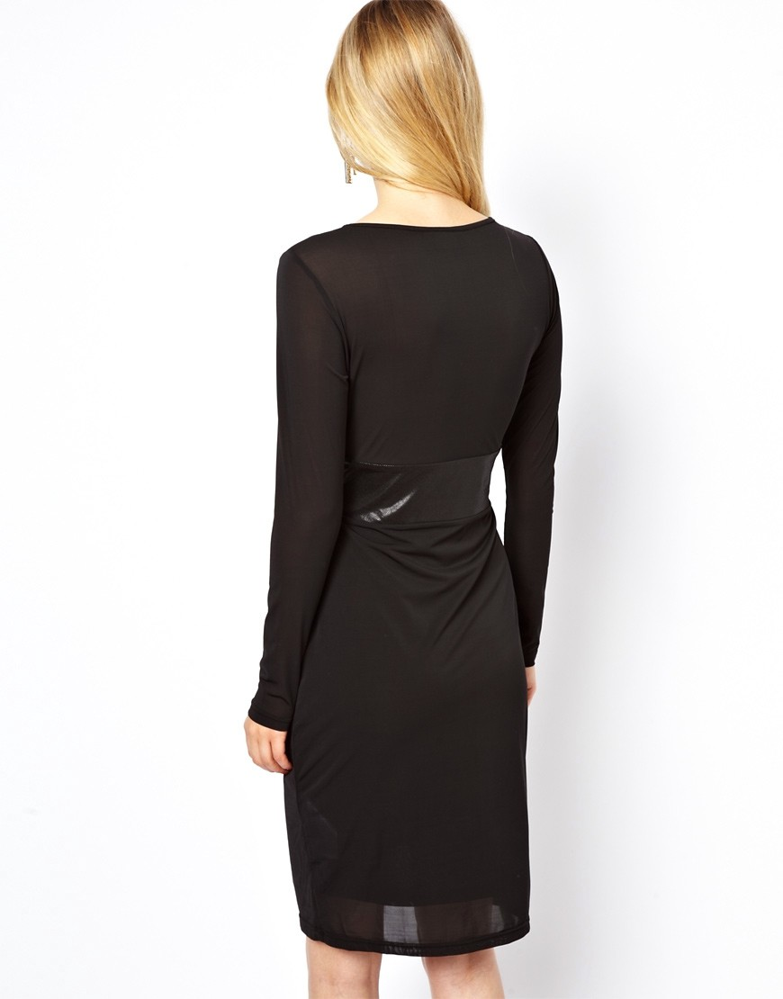 Image 2 of Vila Midi Dress With Satin Waist Detail