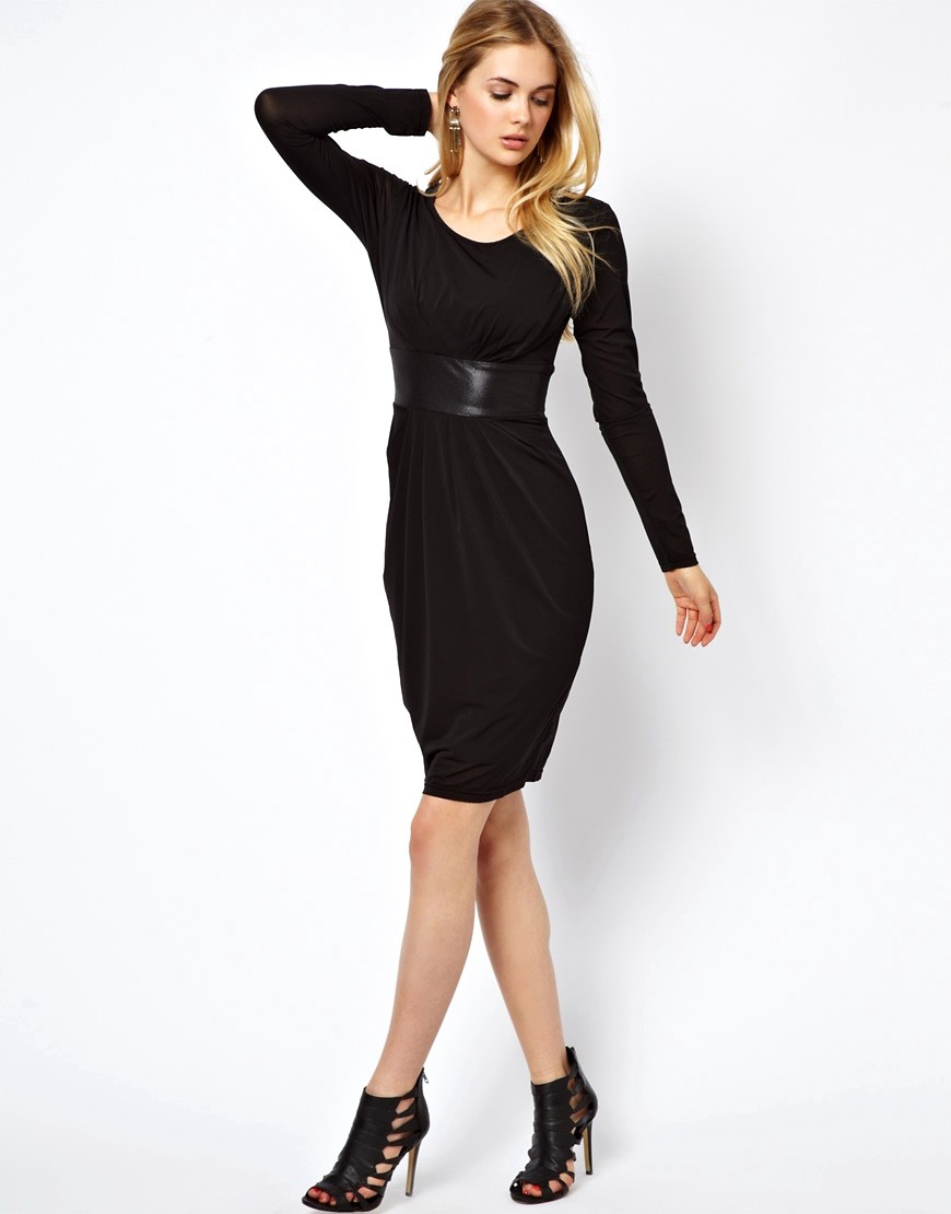 Image 4 of Vila Midi Dress With Satin Waist Detail