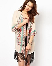 River Island Coachella Fringe Beach Kimono