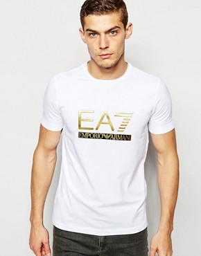 EA7 T-Shirt In Muscle Fit With Foil Logo