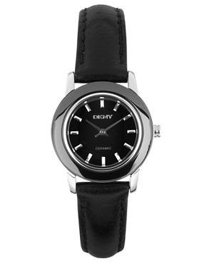 Image 1 ofDKNY Black Leather Strap Watch