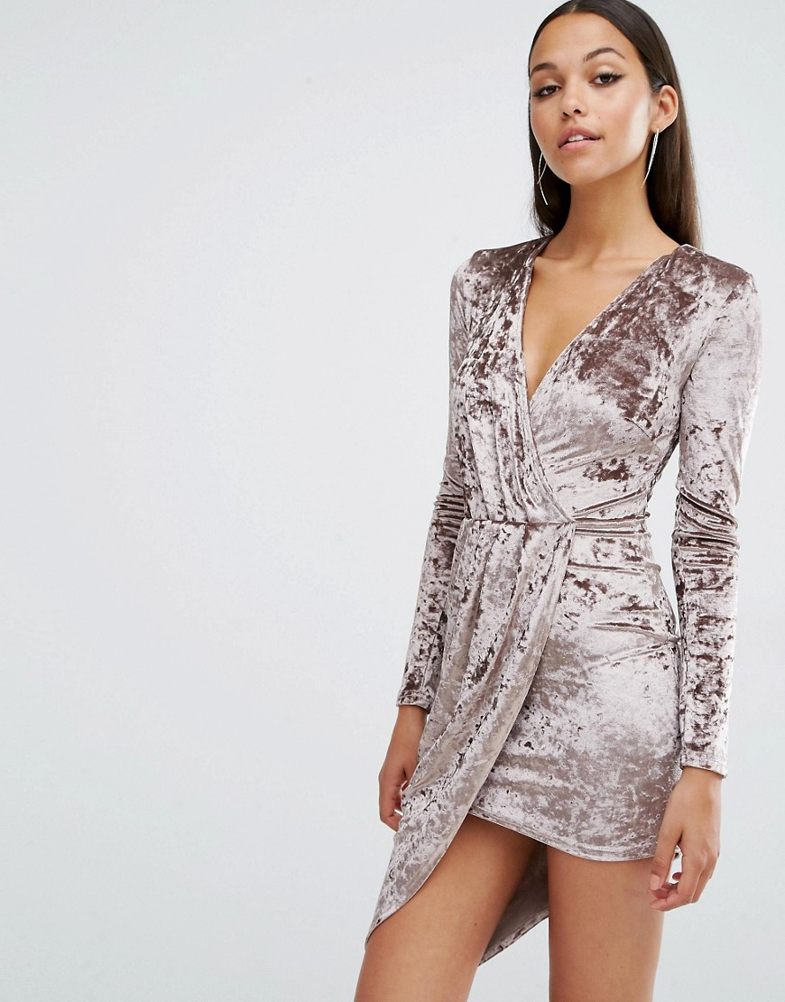 Club L Crushed Velvet Wrap Over Long Sleeve Dress - Brown
