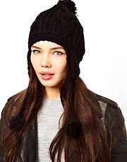 Plush Pom Pom Hat With Fleece-Lined Ear Cover