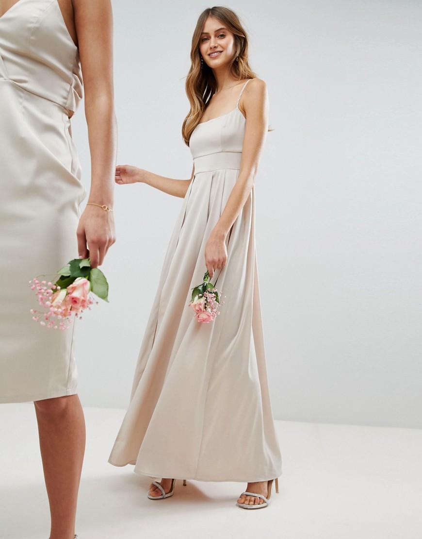 Атласное платье макси на бретельках ASOS DESIGN - Кремовый