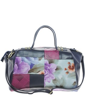 Image 1 ofASOS Bowler Bag With Floral Patchwork