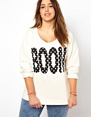 New Look Inspire - Felpa con scritta &quot;Boom&quot; a pois