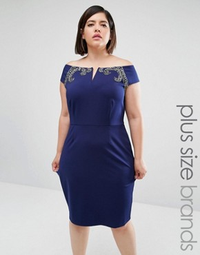 Little Mistress Plus Bardot Bodycon Dress