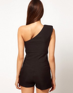Image 2 ofASOS PETITE One Shoulder Playsuit
