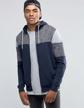 New Look Hoodie With Blocked Detail In Navy