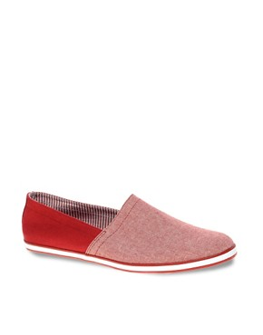 Image 1 ofASOS Canvas Stampdown Plimsolls