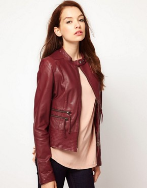 Image 1 ofVila Leather Biker Jacket