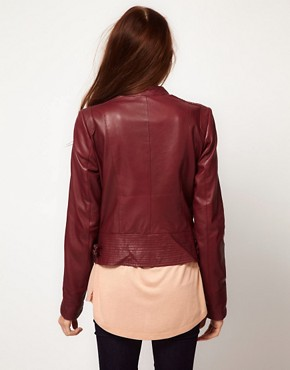 Image 2 ofVila Leather Biker Jacket