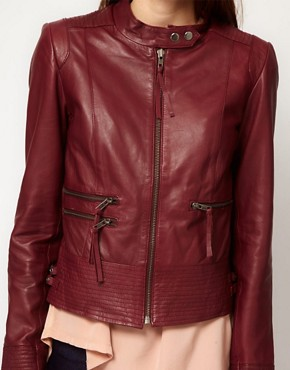 Image 3 ofVila Leather Biker Jacket