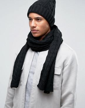 7X Cable Beanie Hat And Scarf Set