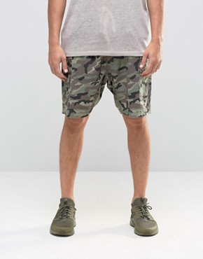 ASOS Slim Cargo Shorts in Linen Mix Washed Camo