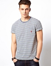 Polo Ralph Lauren T-Shirt In Grey Stripe Crew Neck