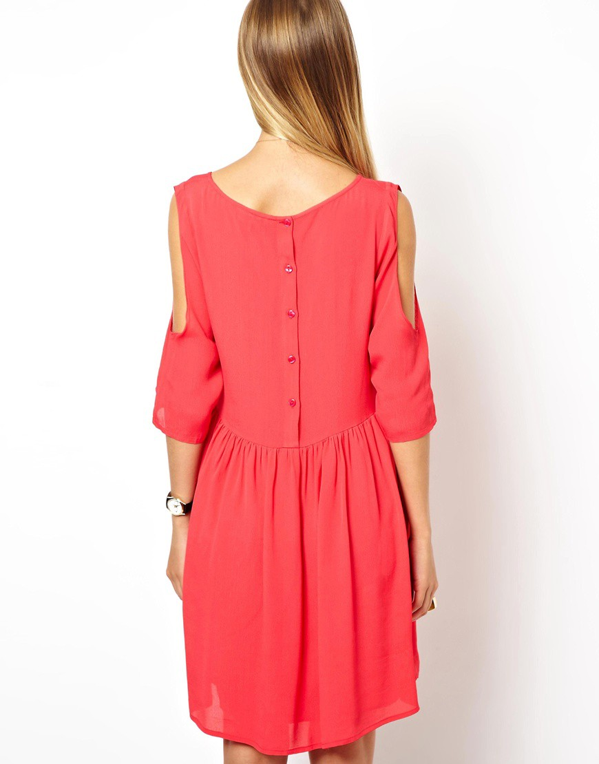 Image 2 of ASOS Smock Dress With Cold Shoulder Detail