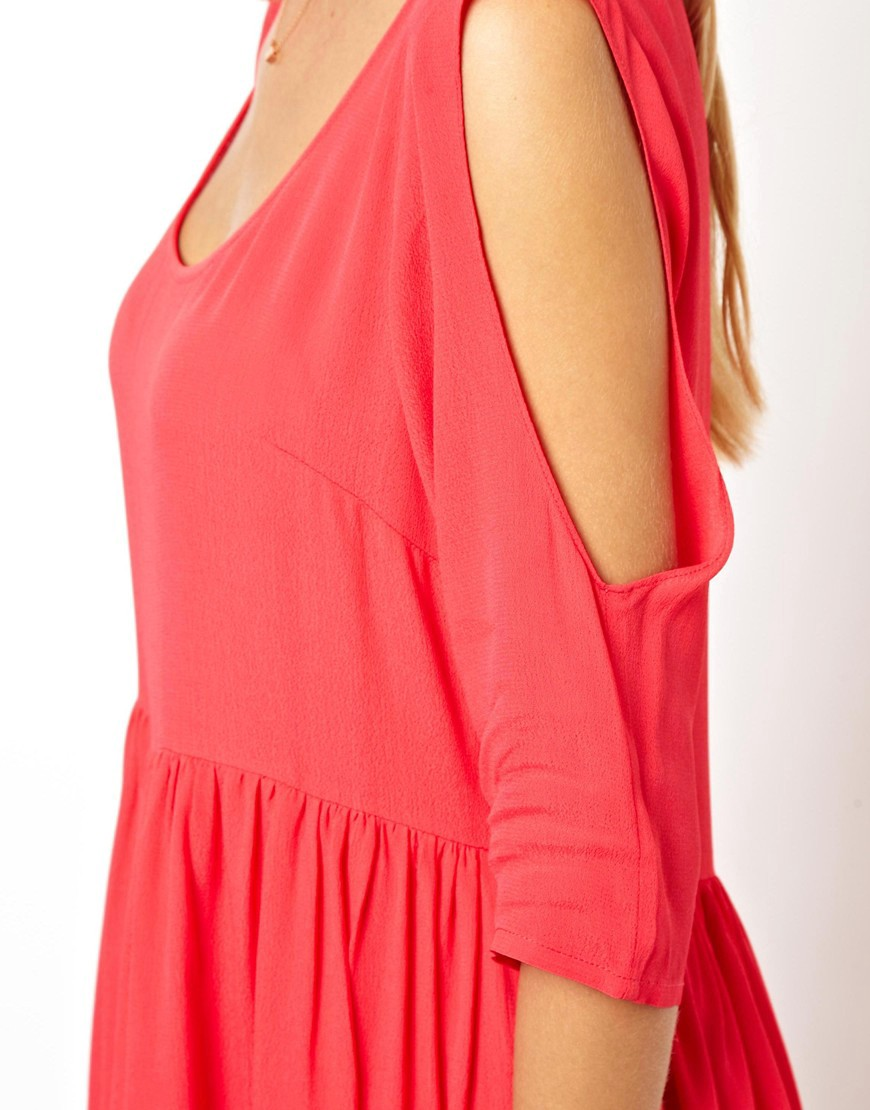 Image 3 of ASOS Smock Dress With Cold Shoulder Detail