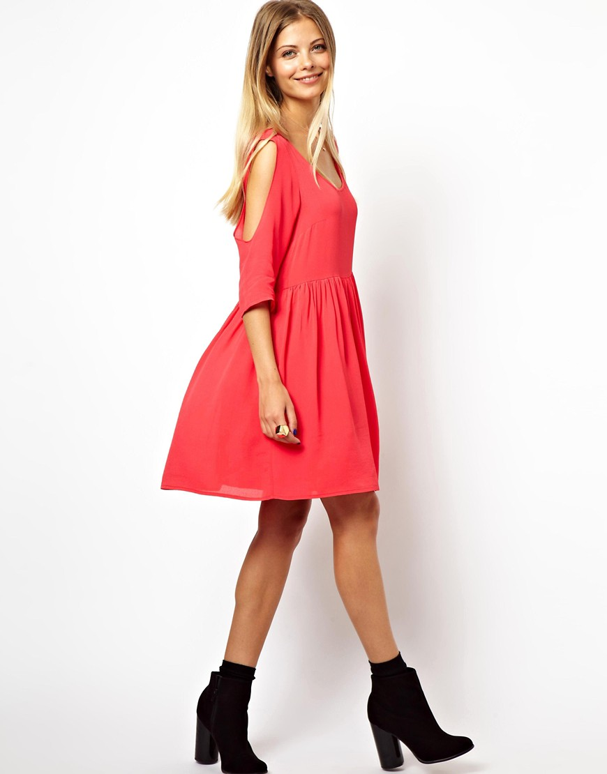 Image 4 of ASOS Smock Dress With Cold Shoulder Detail
